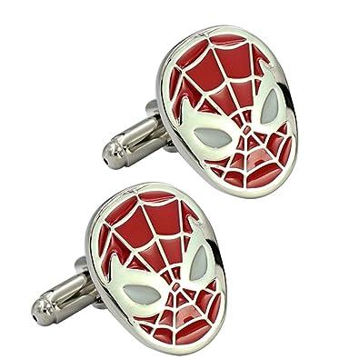 mancuernas de la araña roja de la historieta del esmalte liso bala gemelos de bronce fresco: Amazon.es: Joyería