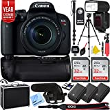 Canon EOS Rebel T7i DSLR Camera w/EF-S 18-135mm Lens Triple Battery & Battery Grip Complete Video Recording Bundle - 2018 Beach Camera 24 Piece Value Bundle