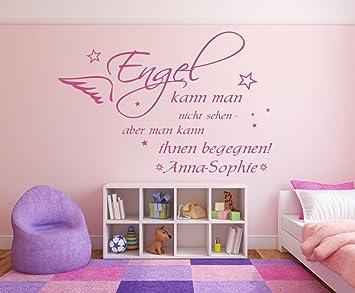 Wandtattoo mit Namen und Sternen ~ Spruch: Engel kann man nicht sehen ~  fürs Kinderzimmer und Schlafzimmer Mädchen und Jungen,  73024-100x58cm-schwarz, ...