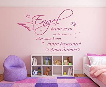 Wandtattoo mit Namen und Sternen ~ Spruch: Engel kann man nicht ...