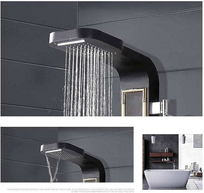 Sistema de ducha, conjunto de paneles de ducha Color de la pantalla de ducha Conjunto de ducha europeo Generador de vapor con luz de LED Columna de ducha Ducha Boquillas multifuncionales Masaje