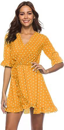 فستان نسائي قصير مكشكش بياقة على شكل حرف V وأكمام قصيرة غير متماثلة وخصر منقط، أصفر