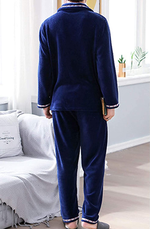 Mens Winter Fleece 2 Piece Pajamas Long Sleeve Flannel Sleep Set Loungewear