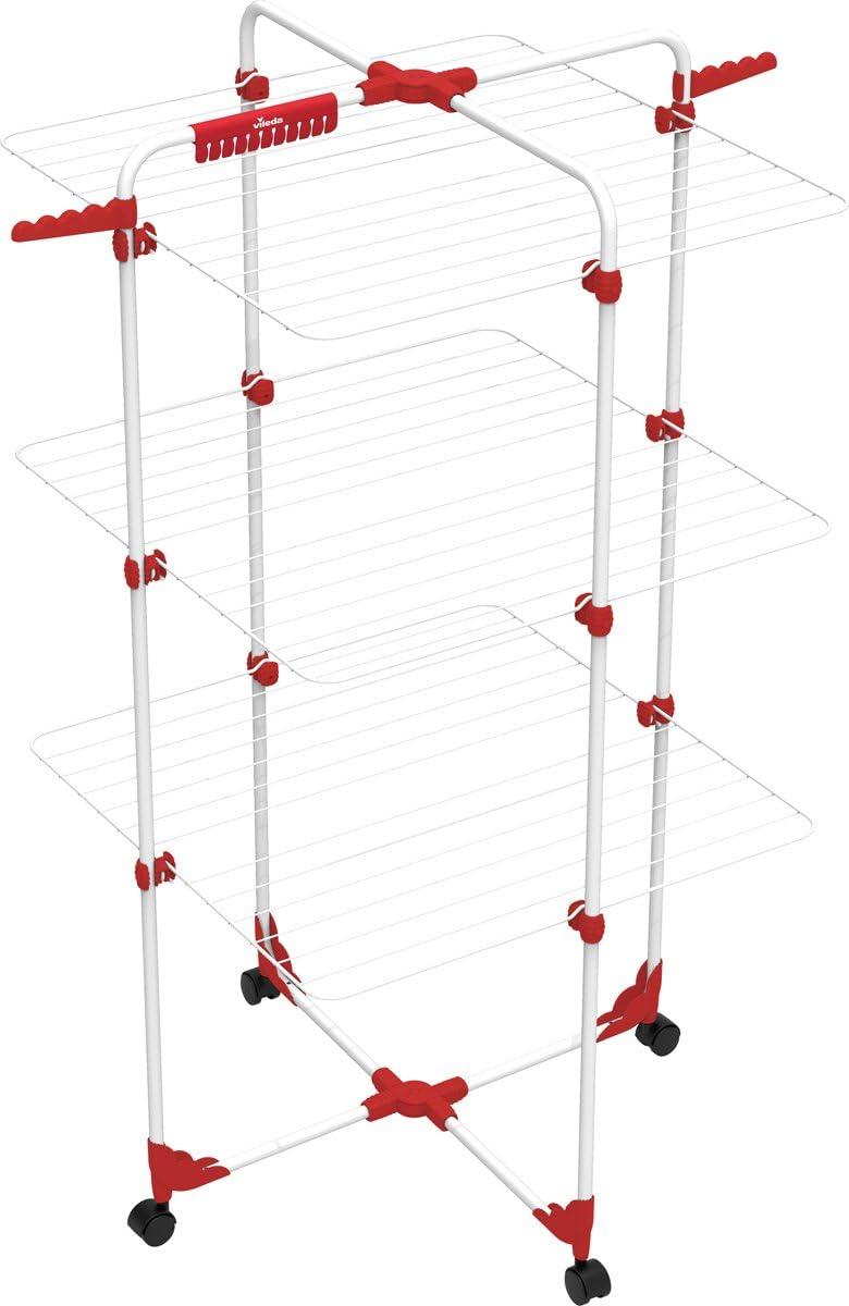 Rosso Metallo 5 x 127.5 cm Vileda Torre Stendino Mixer 3 Stendibiancheria