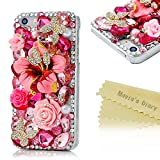 4s Case, Iphone 4 Case- Mavis's Diary Luxury 3D Handmade Crystal Butterfly and Flower Colorful Shiny Bling Rhinestone Diamond Design Hard Cover Clear Case with Soft Clean Cloth (Pink Flower Rhinestone Butterfly)