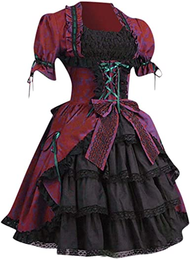 POLP Halloween Mujer Vestidos de Encaje Gótico Medieval Vintage ...