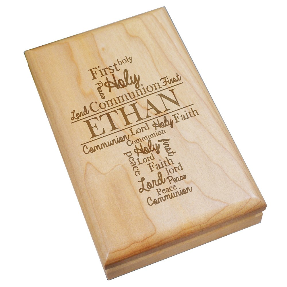 GiftsForYouNow Engraved First Communion Personalized Wood Valet Box