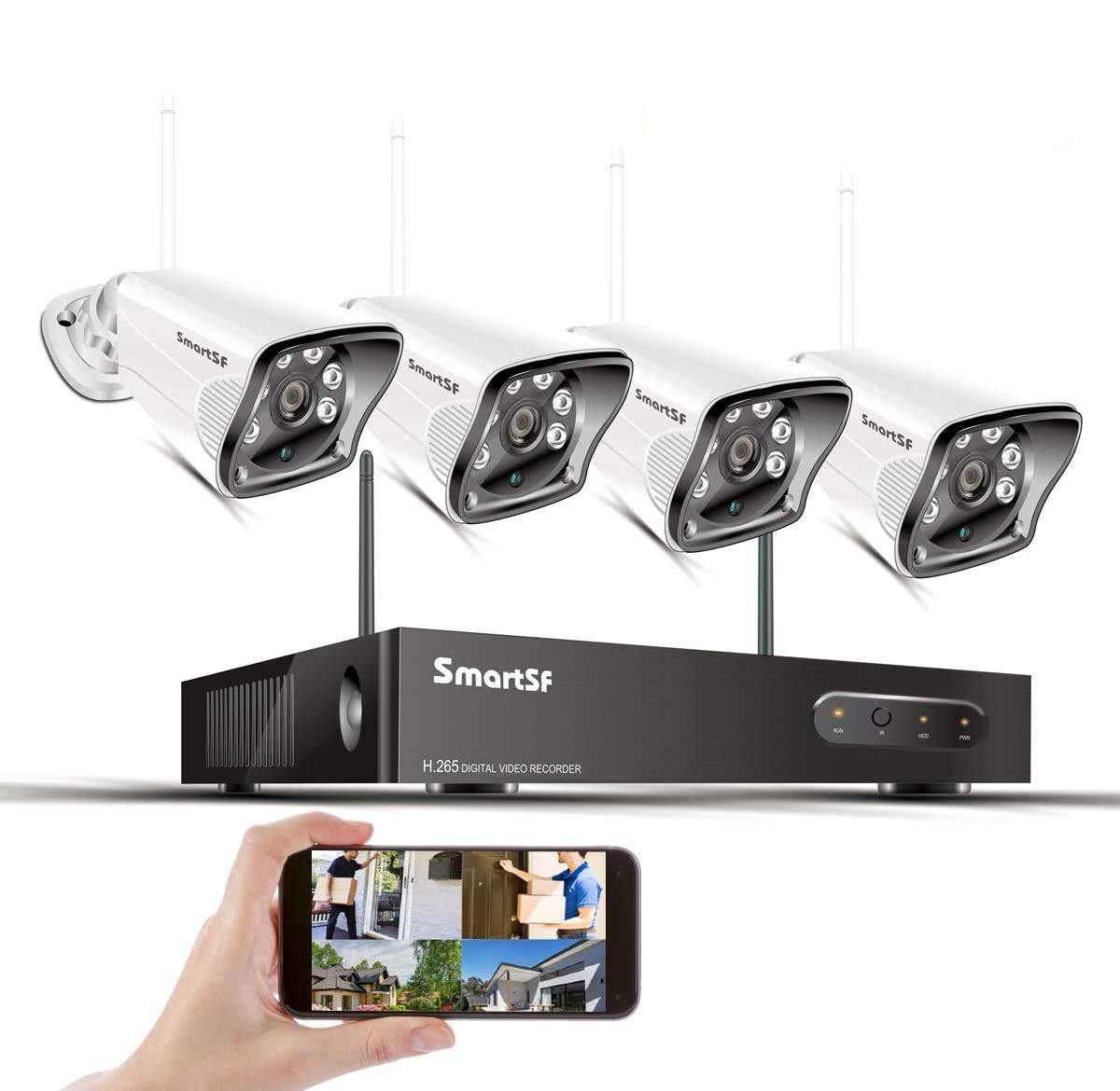 Kit de WiFi Sistema de cámaras de Seguridad 8CH 1080P NVR H.265 y 4 1080P Cámara IP de Bala Resistente a la Intemperie, visión Nocturna con Corte IR, Acceso Remoto Gratuito y detección de Movimiento