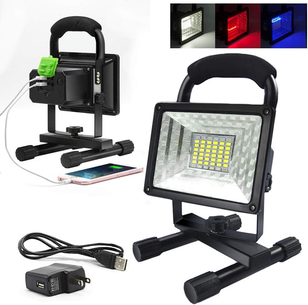 50W 36 LED Light Spotlight Portable Outdoor Floodlights Red Blue Emergency Flash