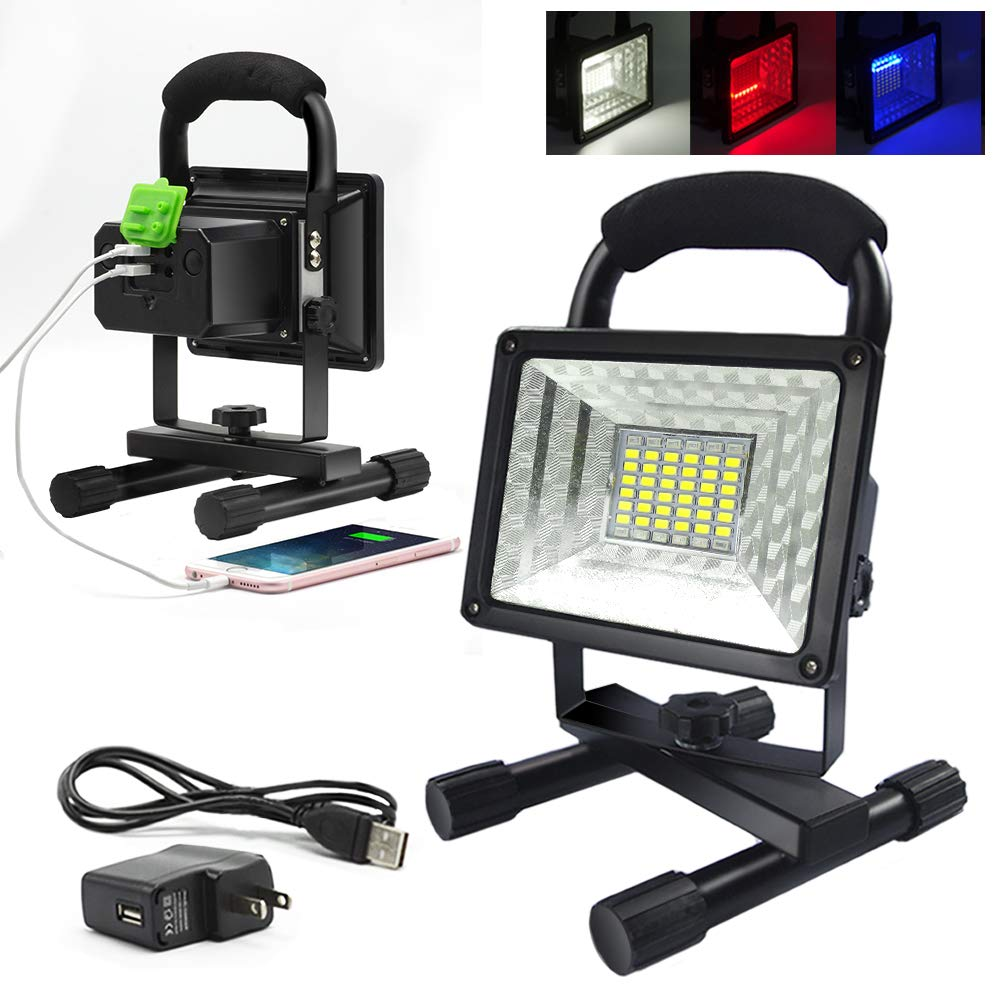 ETOPLIGHTING 30W Portable LED Emergency Flood Light, Camping Light, Work Light, Emergency SOS Function Flashers and Two USB Port Power Bank, 36 LED Beads, APL1718