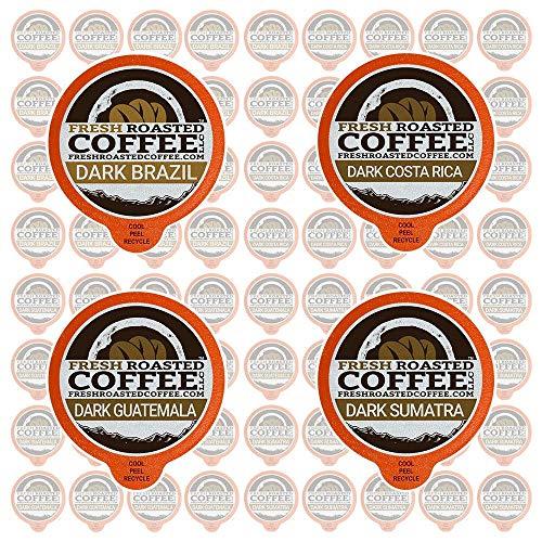Fresh Roasted Coffee LLC, Dark Roast Coffee Pod Variety Pack, Single Origin, Dark Roast, Compatible with 1.0 / 2.0 Single-Serve Brewers, 72 - Fresh Brazil Coffee