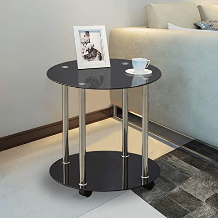 BOJU Mobile Small Sofa Side Table on Wheels Living Room Black Wood Coffee Tea Snack Table with Storage Bedroom Small Space Black Walnut