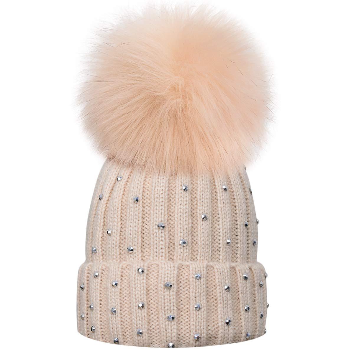 Amazon.com  Sunlightfree Kids Knitted Hats Cozy Warm Winter Hat with Pom  Pom Kids Beanie Hat  Clothing e5a685fb16b