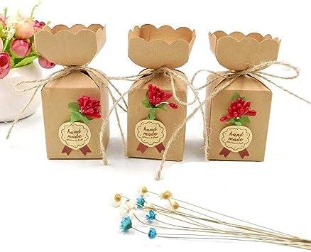 WopenJucy 50 Cajas Favor Kraft con línea Yute + Flores + Pegatinas ...