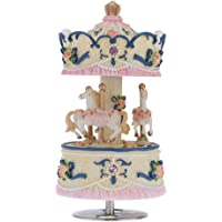 Andoer® Laxury Windup 3-horse Carousel Music Box Creative Artware/Gift Melody Castle in the Sky Pink/Purple/Blue/Gold Shade for Option