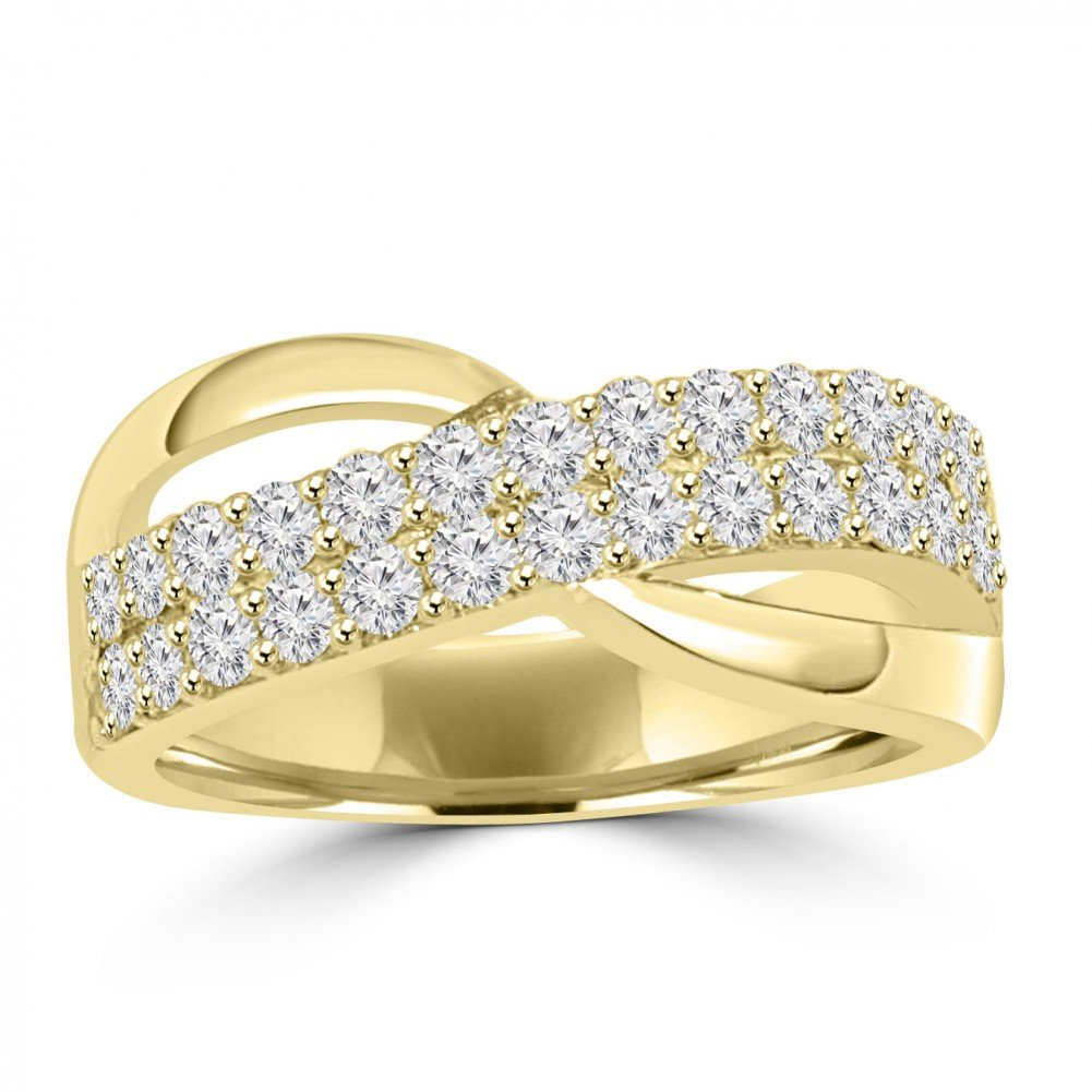 1.00 ct Ladies Round Cut Diamond Anniversary Ring in 18 kt Yellow Gold In Size 13.5