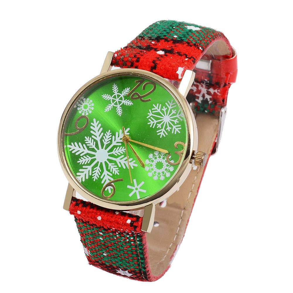 Clearance! Paymenow Women Christmas Watches Christmas Tree Snowflake Pendant Watch Casual Quartz Wrist Watch Xmas Gift (B)