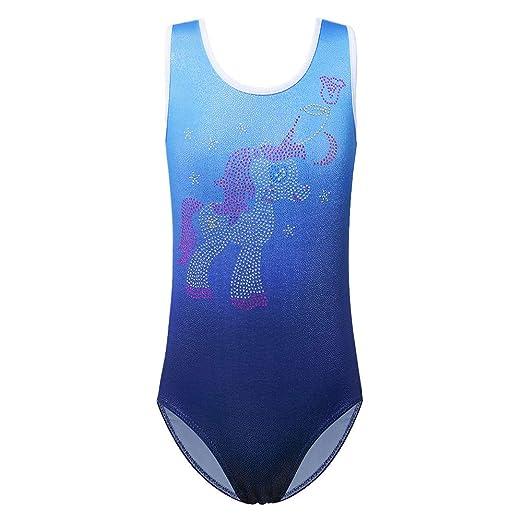 614fc9a9e9d7 XIAOFEIGUO Sleeveless Leotards for Girls Gymnastics Biketards Kids Glitter Ballet  Dance Unitards 3-4Y Blue