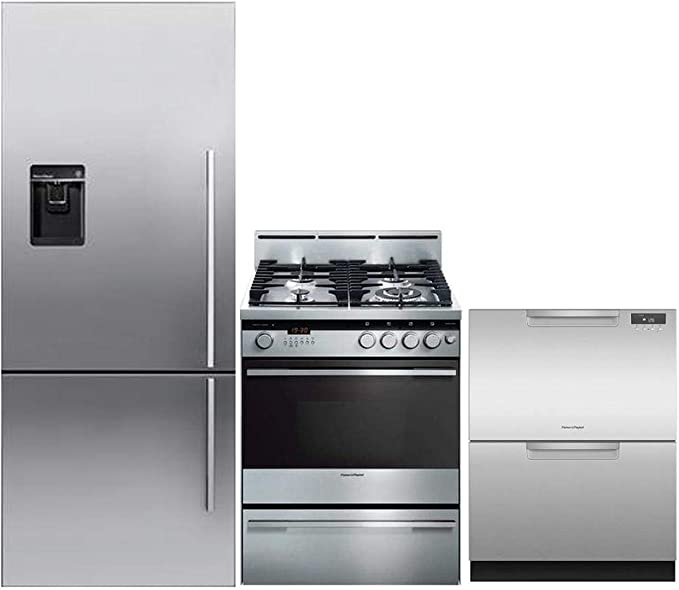 Amazon Com Fisher Paykel 3 Piece Stainless Steel Kitchen Package Rf135bdlux4 25 Counter Depth Left Hinge Bottom Freezer Refrigerator Or24sdmbgx2 24 Freestanding Gas Range Dd24dax9n 24 Full Console Dishwasher Appliances