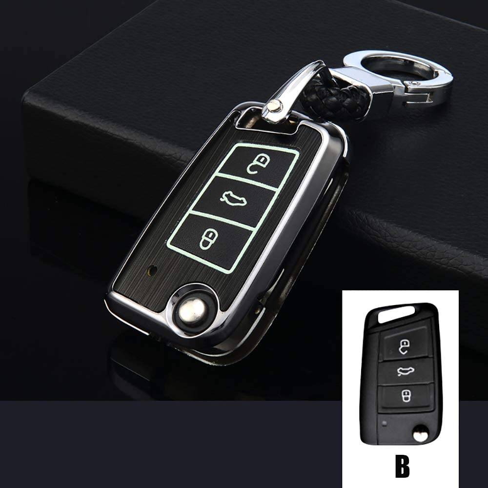 ontto Folding Key Fob Case Shell Keyless Entry Aluminum Alloy Key Cover Protector Jacket with Keychain Fit for VW Volkswagen Silver