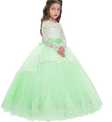 Lace Chiffon Flower Girl Dress Kids Princess Pageant Wedding Bridesmaid Dresses