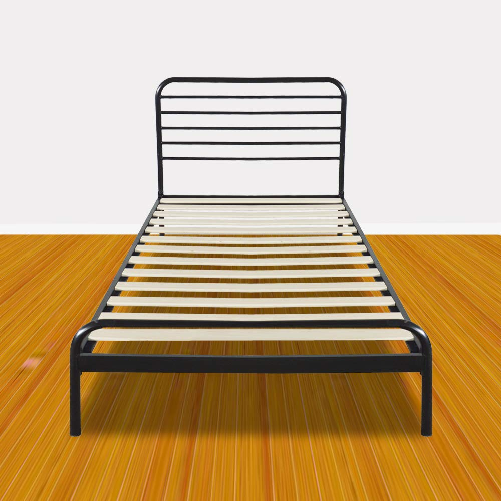 Bonnlo Sturdy Metal Bed Frame Twin Size Platform Bed Mattress Foundation Headboard/Wood Slat Support, No Box Spring Needed (Black)