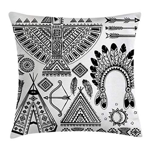 Ambesonne Tribal Decor Throw Pillow Cushion Cover, Native American Feather Head Band Teepee Tent Bow and Arrow Art Print, Decorative Square Accent Pillow Case, 24 X 24 Inches, Black and (Decorative Headband Fabric With Feather)