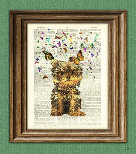 Yorkshire Terrier Beautifully Upcycled Vintage Dictionary Page Book Art Print