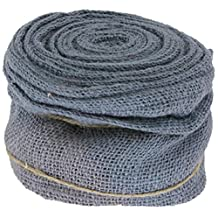 Renaissance 2000 Blue Burlap with Wire Ribbon, 4-Inch x 10yd