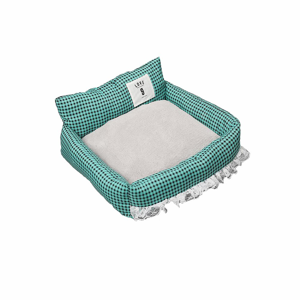 Green DALL Beds FS-409 Cute Plaid Cats And Dogs Pet Bed Square Shape Four Seasons Universal 360 Degrees Three-dimensional Encirclement (color   GREEN)