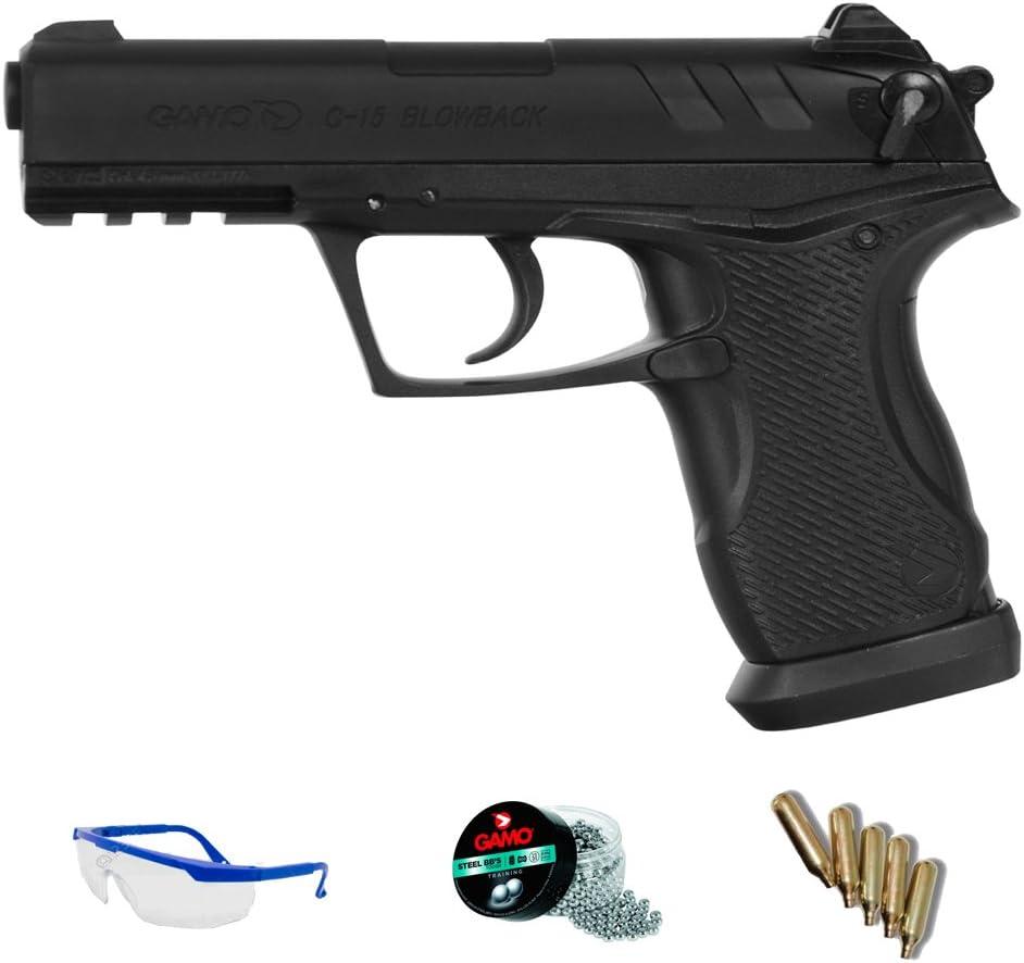 PACK pistola Gamo C-15 Blowback - arma de aire comprimido y balines <3,5 julios