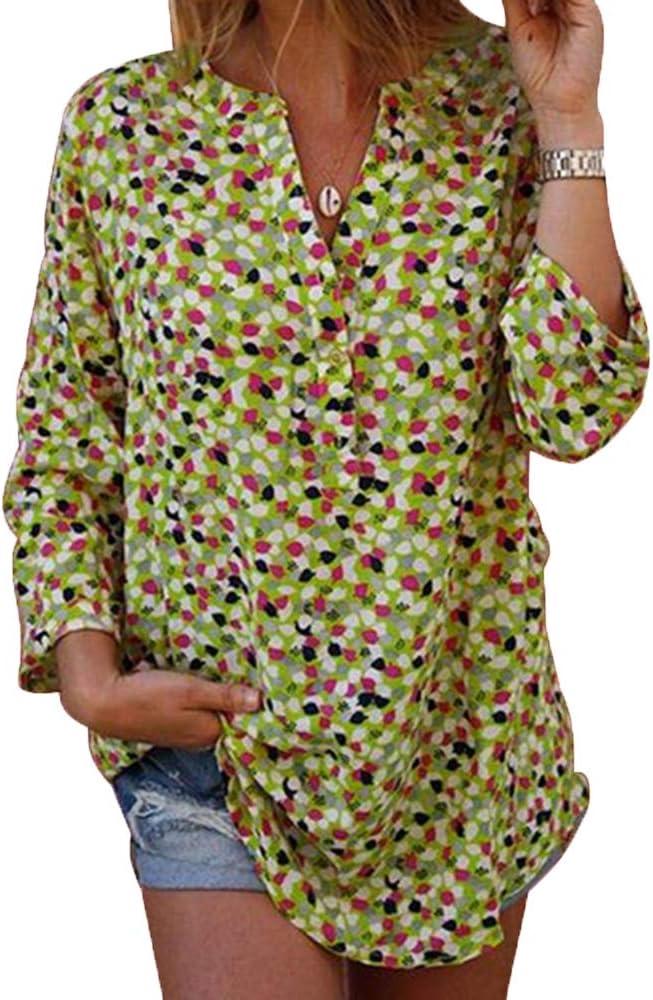 Camisa con Cuello en V Top de Verano Nueva Camisa Estampada de Manga Larga: Amazon.es: Ropa y accesorios