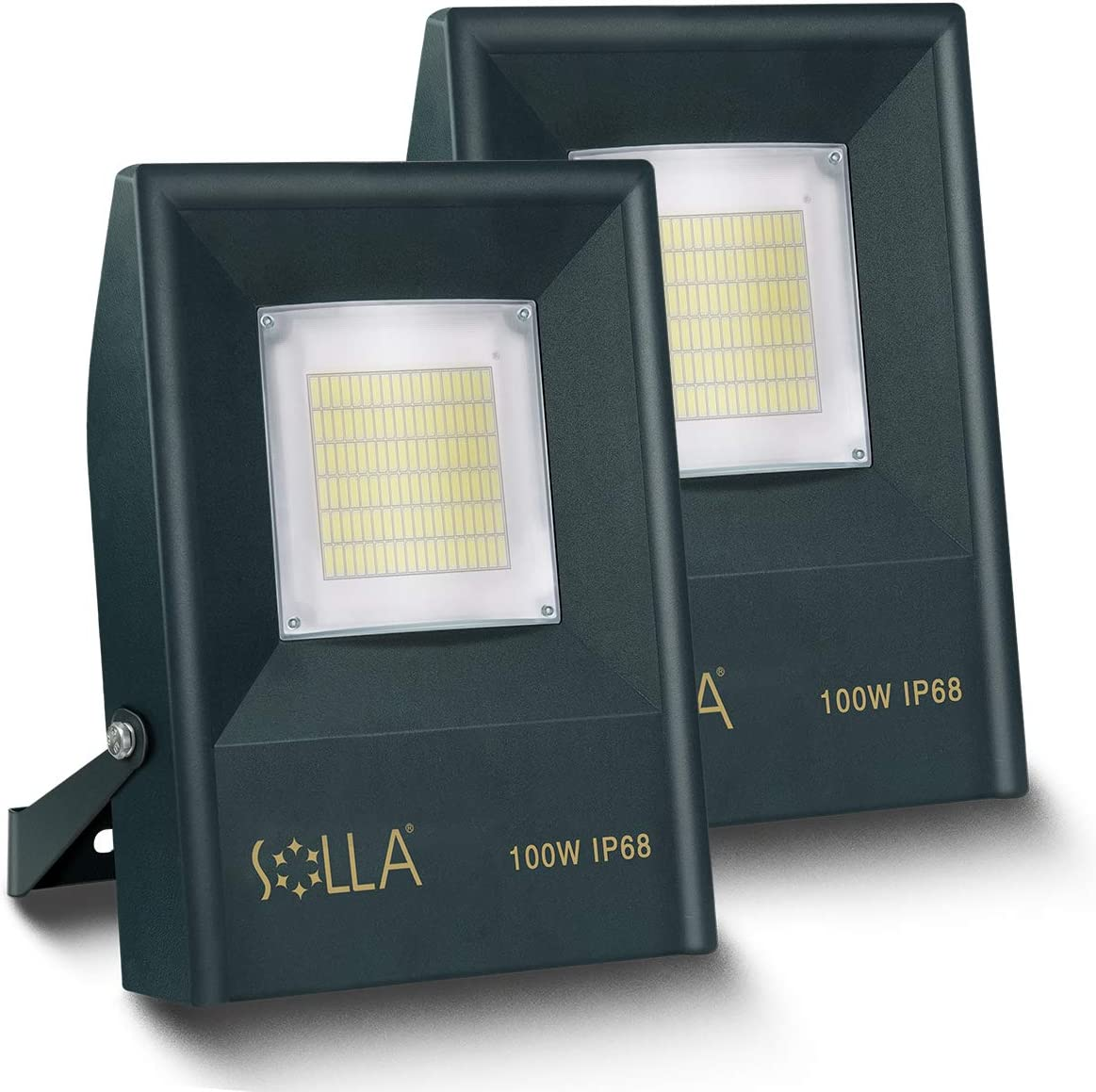 SOLLA 2 Pack 100W LED Flood Light Outdoor, IP68 Fully Waterproof Exterior Security Lights, 5000K Daylight, Super Bright Indoor Outdoor Lighting for Garage Yard Patio Entrance and Parking lot