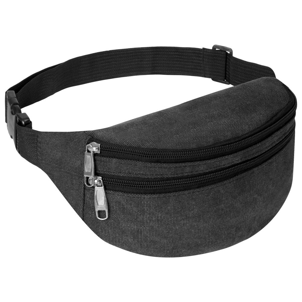 iSPECLE 3 Zipper Compartment Fanny Packs for Men Women Grey Fanny Pack