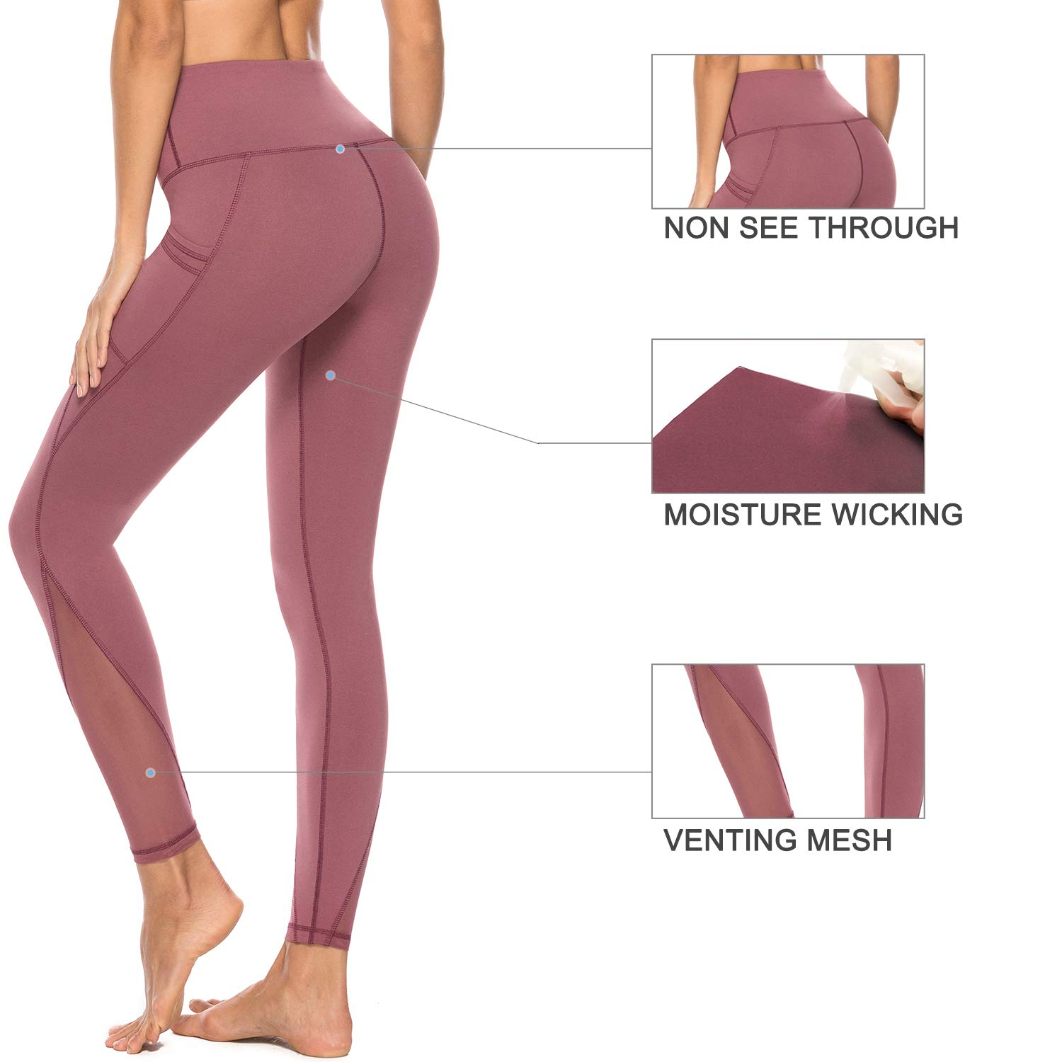 Non See-Through High Waist Tummy Control 4 Way Stretch Leggings Persit Womens Mesh Yoga Pants with 2 Pockets