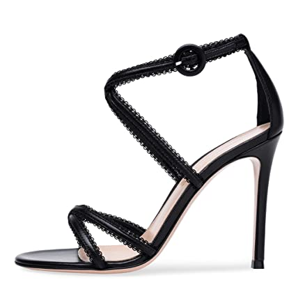47411e1f042 Amazon.com: Women's Black And White Cross Belt High Heel Sandals ...
