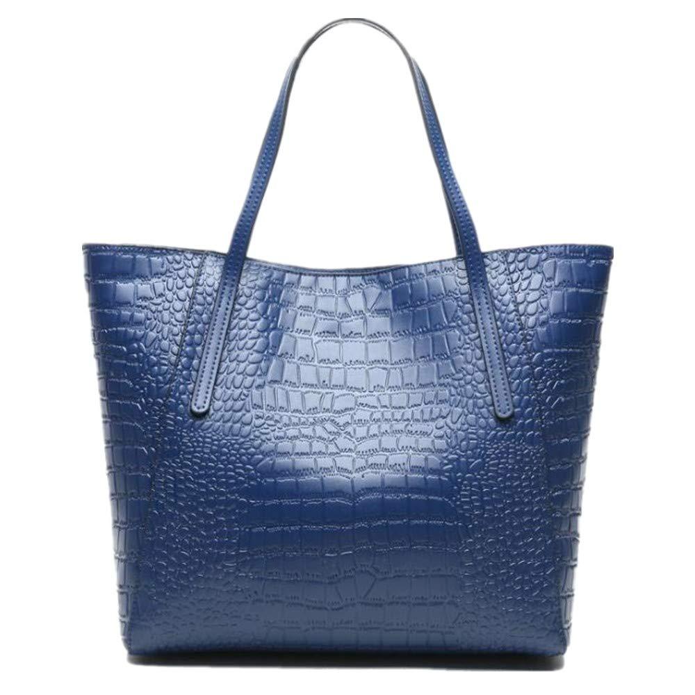 Navy bluee NZZNB Crocodile Pattern Ladies Bag Fashion Simple Leather Handbag Large Capacity Single Shoulder Bag Top-Handle Handbags
