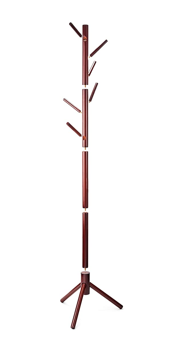 ZOBER Premium Wooden Coat Rack Free Standing, with 6 Hooks Lacquered Pine Wood Tree Coat Rack Stand for Coats, Hats, Scarves, Clothes, and Handbags - Cherry Wood Finish