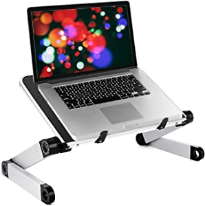 Garvo Ergonomic Portable Lap Desk Laptop Lifter Elevated Stand Tray Adjustable Angle Lightweight Folding Aluminum Computer Riser for Reading Compatible with Ipad, MacBook, Notebook, Tablet 11.8 Inch