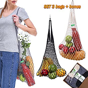 HANDMADE Cotton net market reusable String bag Set Organic Grocery Cotton Mesh Bags in 8 Color Variations with Hooks for Shopping Beach Sport (Natural, Grey, Black)