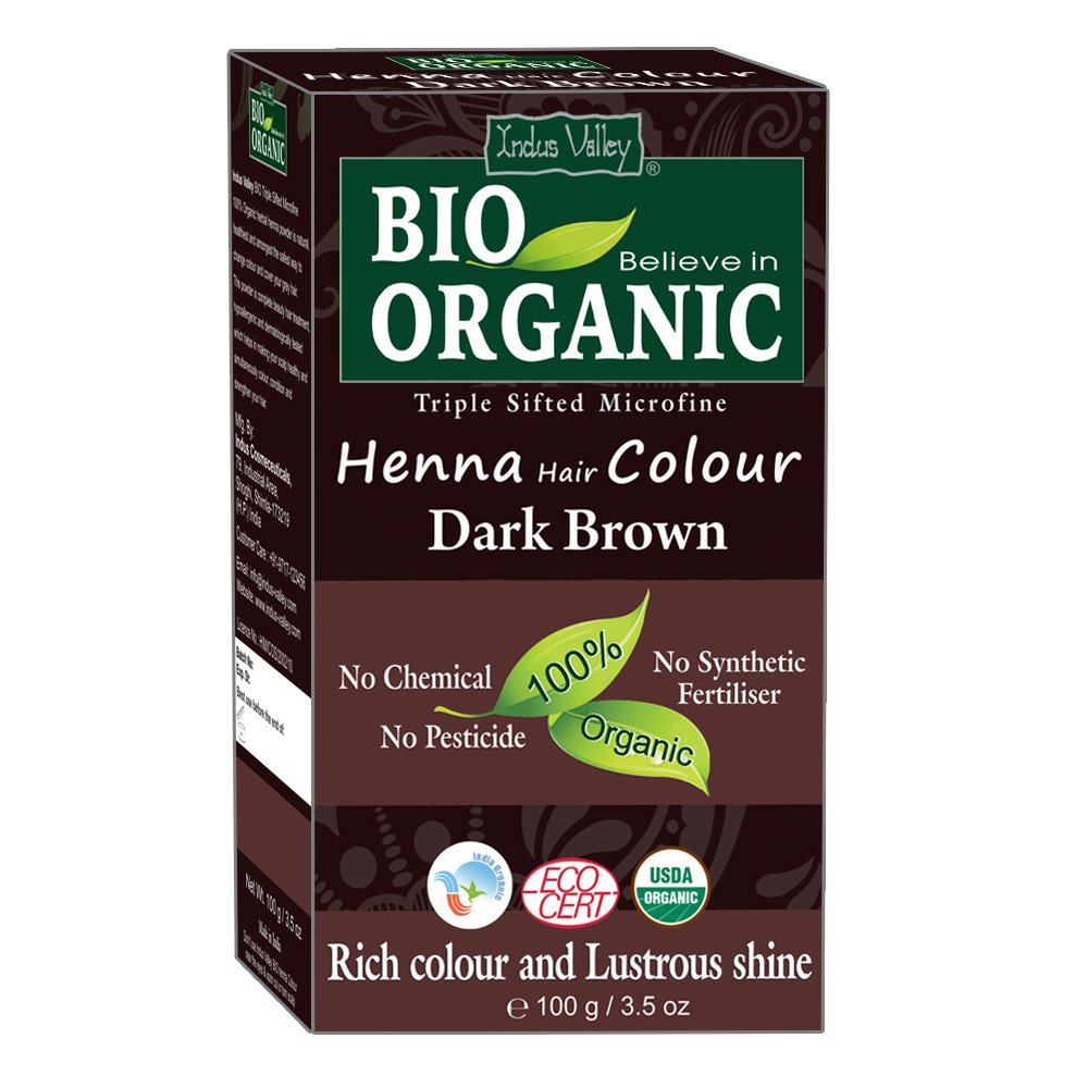 Indus Valley Bio Organic 100% Chemical Free Natural Dark Brown Henna Hair Color for Dark Premature Greying hairs - (Pack of 2) Indus Cosmeceuticals
