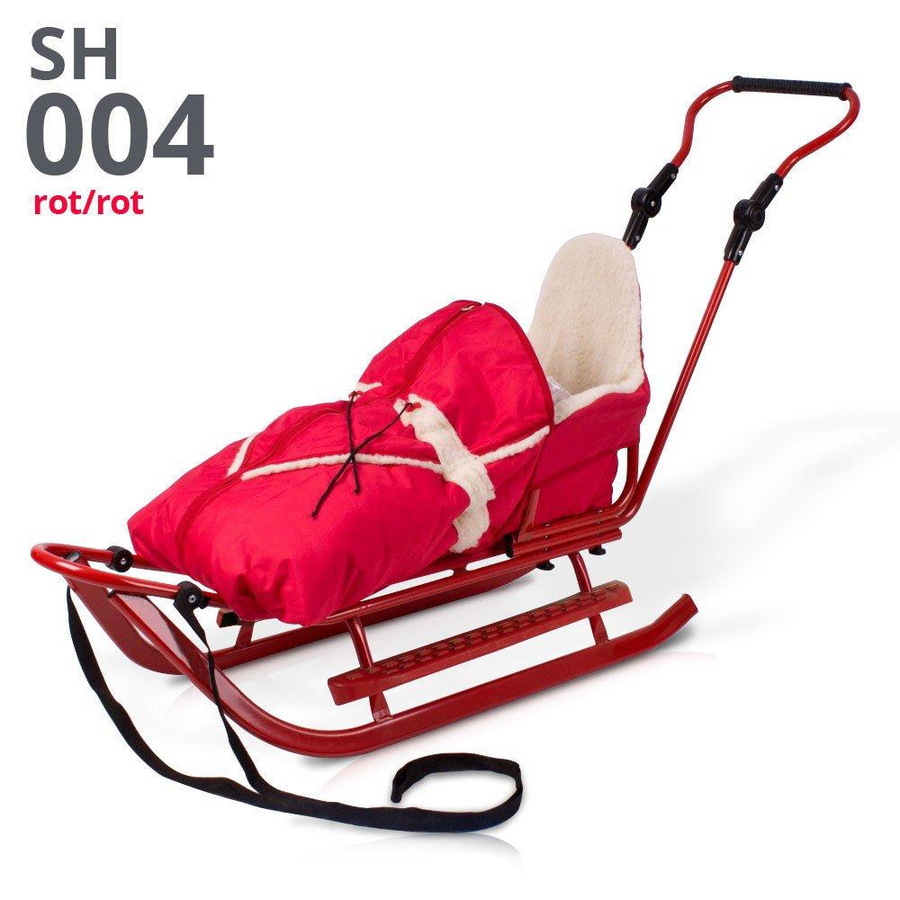 Schlitten Rodelschlitten Babyschlitten mit Rückenlehne, Fußsack und Schiebestange (rot)