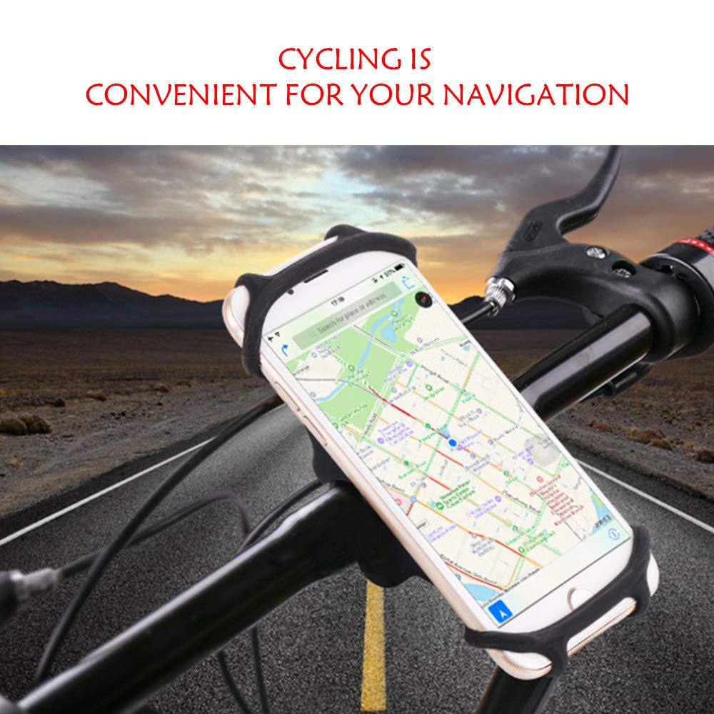360/°Rotation Silicone Bicycle Cell Phone Holder Universal Handlebar Mount 4.0-6.5 Phones Ztent Bike Phone Mount Cycling Accessories Compatible for iPhone X 8 7 6 Plus Galaxy S10+ S10 S10e S9 S8