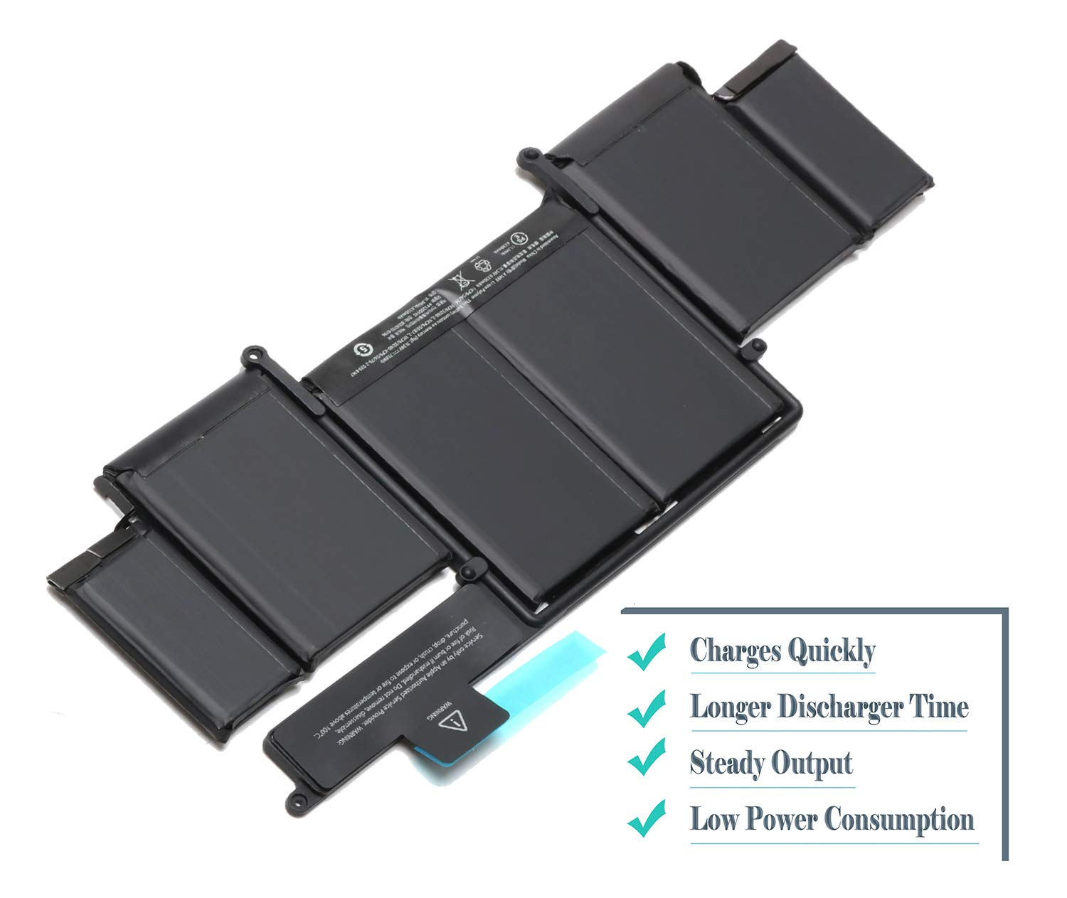 A1493 New Laptop Battery for Apple A1502 ME864LL/A ME866LL/A; MacBook Pro 13'' Retina Battery-Only for Late 2013, Mid 2014 Version [Li-Polymer 11.34V 71.8Wh] by ROLADA (Image #4)