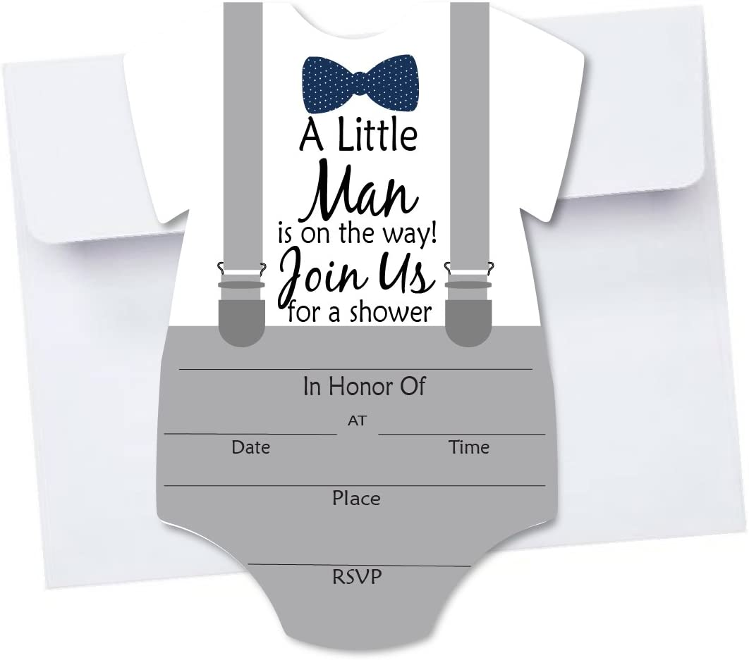 Fill In 10 Boy Bow Tie Baby Shower Invitations with Envelopes