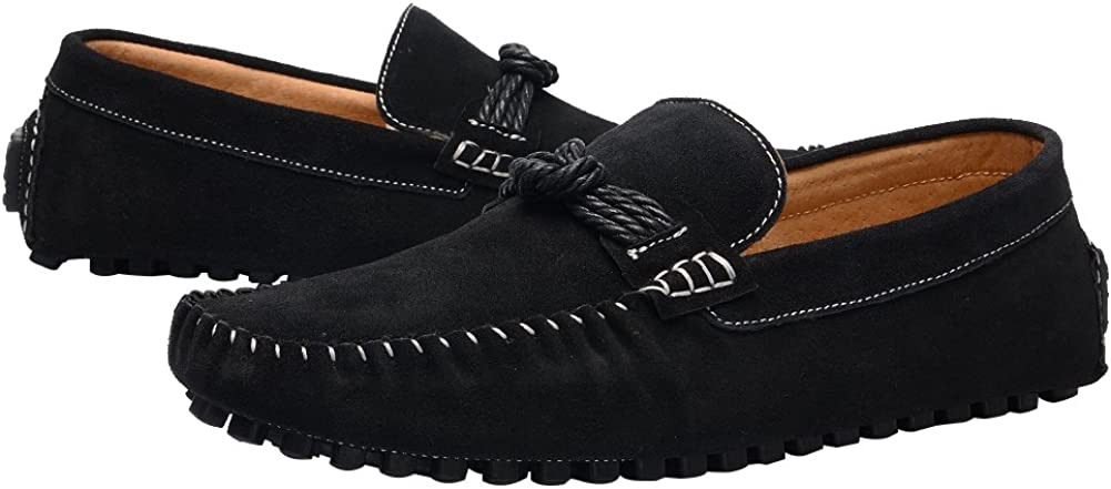 Shenn Mens Bow Slip On Flat Heel Driving Car Suede Loafers Shoes