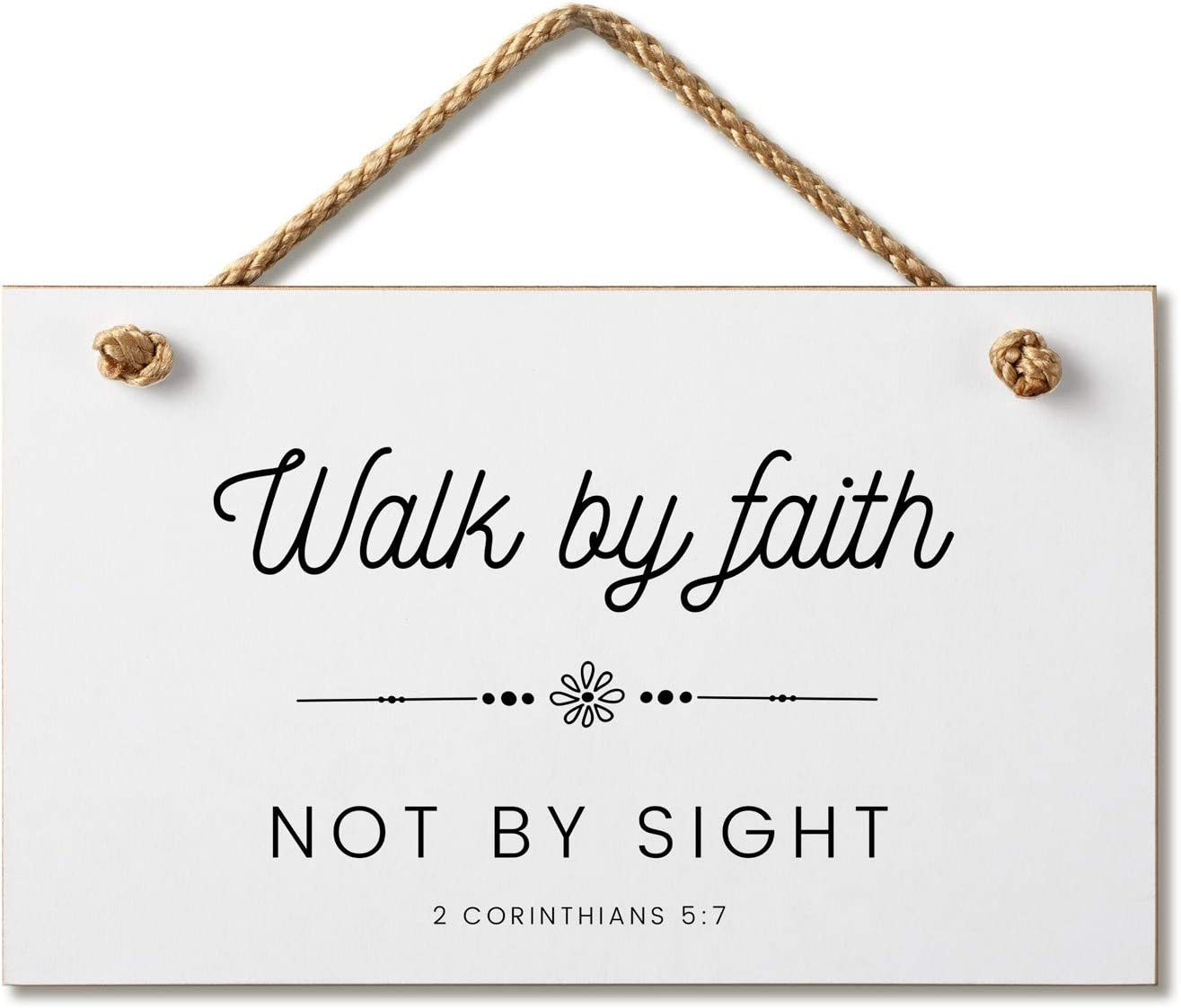 Marvin Gardens Designs Farmhouse Style Bible Verse Wall Decor Wood Sign 9.5 x 5.5 Inch Wood Made in The USA (Walk by Faith (White), 9.5 x 5.5)