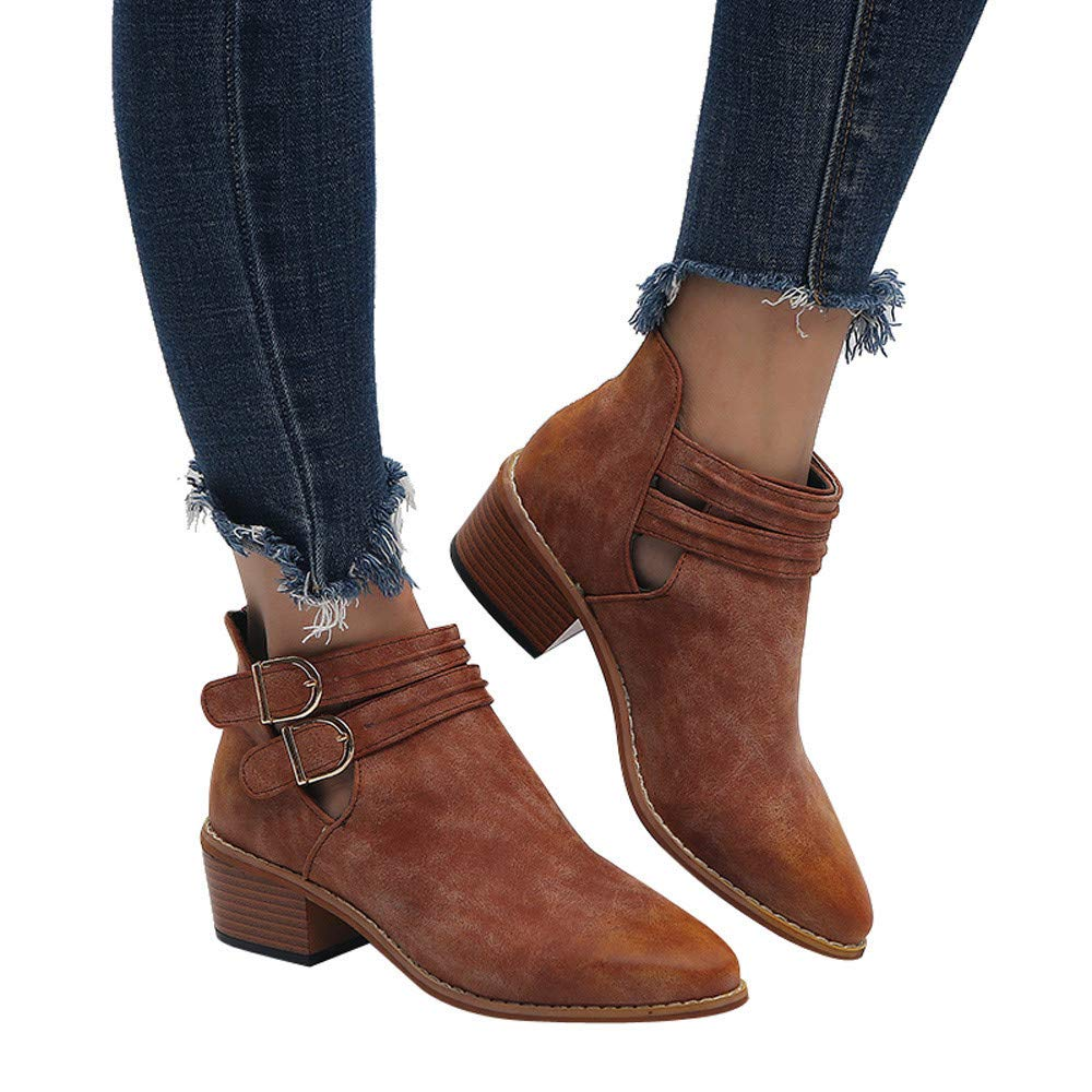 Gyoume Winter Ankle Boots Shoes Women Mid High Boots Shoes Buckle Round Toe Boots Shoes