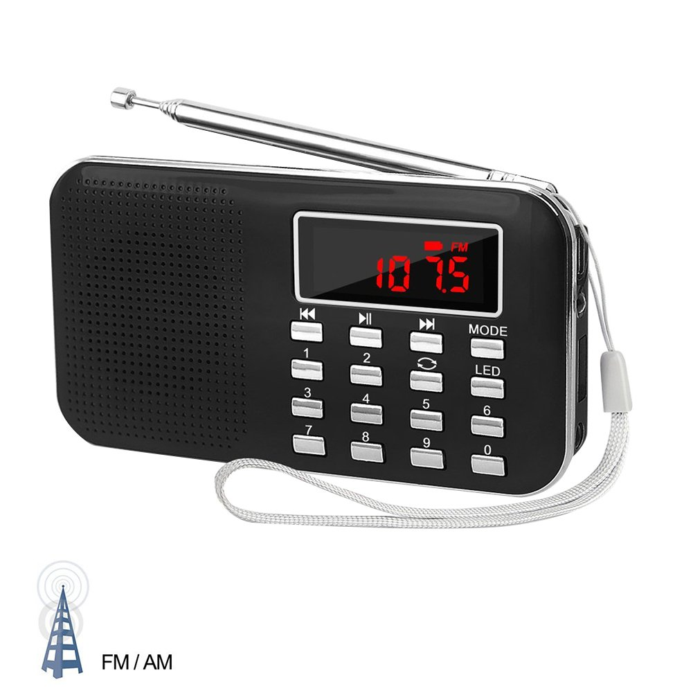 Per Portable Digital AM FM Radio MP3 Music Player Media Speaker Support TF Card With Headphone Hole 3.5mm LED Display USB Rechargeable-Black by Per (Image #1)