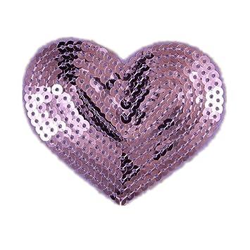 Parches de lentejuelas con forma de corazón, 5 unidades, se pueden coser o plancharlos para adherirlos a la tela: Amazon.es: Hogar